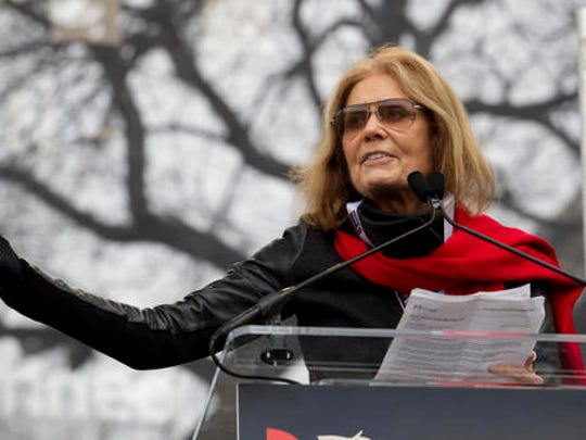 Writer and political activist Gloria Steinem speaks to the crowd during the Women's March on Washington, Saturday, Jan. 21, 2017 in Washington.