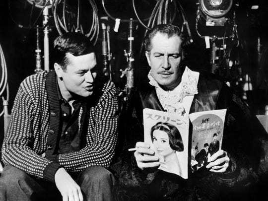 1. Roger Corman and frequent star Vincent Price between setups for one of several Edgar Allan Poe movies they made.