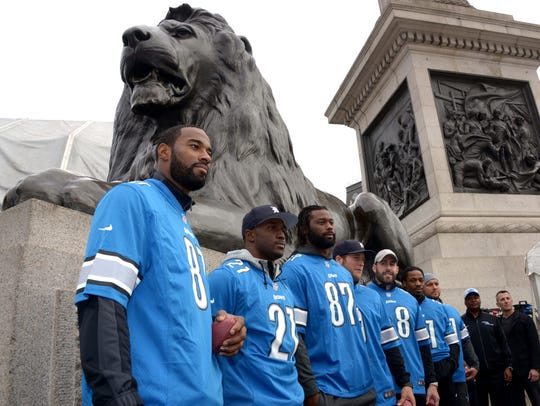 Lions receiver Calvin Johnson, running back Reggie Bush, tight end Brandon Pettigrew and others at the NFL Fan Rally at Trafalgar Square in advance of the International Series game Oct. 25, 2014 in London.