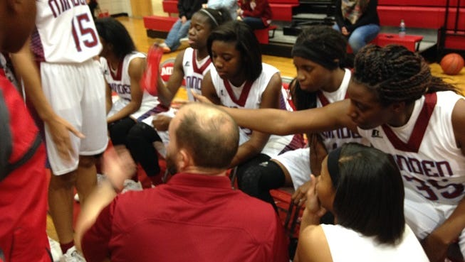 Minden coach Jacob Brown talks with is team during a timeout on Friday night.
