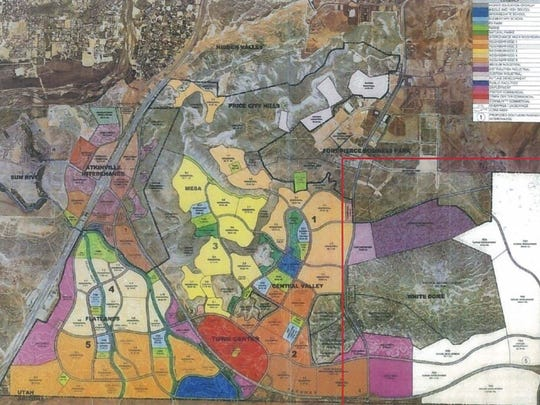 """A St. George master plan map shows the """"South Block"""" area stretching from Interstate 15 to just south of the St. George Regional Airport. The """"White Dome"""" section of the area was the subject of a general plan amendment that passed through the city council this week."""