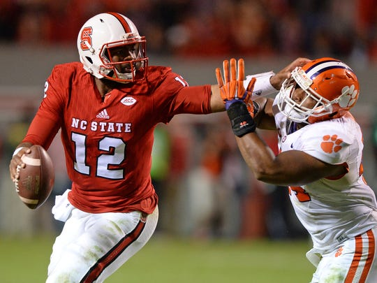 North Carolina State quarterback Jacoby Brissett (12)