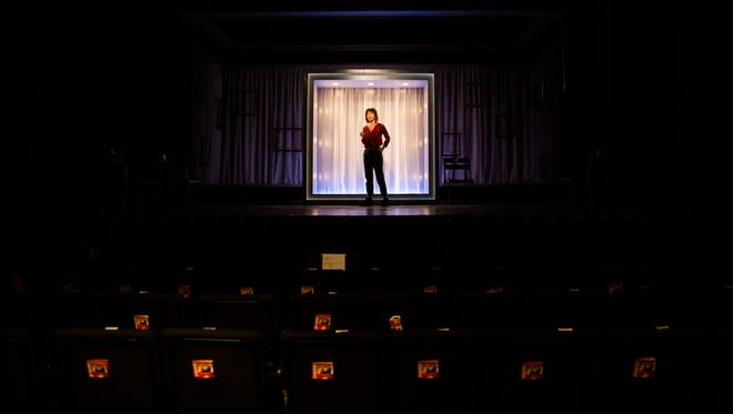 "Tony Award-nominated actress Carmen Cusack rehearses sound cues for the one-woman play ""Do This"" on Tuesday, Jan. 3, 2017, at the Gulfshore Playhouse in downtown Naples. The playhouse this week closed on the purchase of a 3-acre parcel of land for its own 400-seat theater."