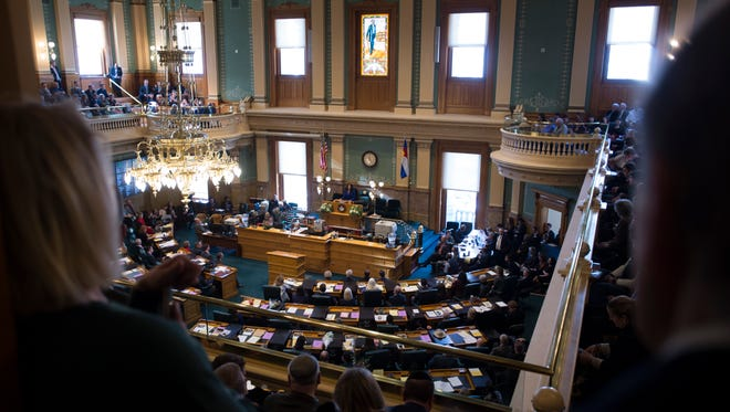 The Colorado State House of Representatives convenes in its first session of the 71st General Assembly at the Capitol in Denver in January 2017.