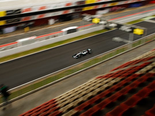 Mercedes driver Lewis Hamilton of Britain steers his car during a Formula One pre-season testing session at the Catalunya racetrack in Montmelo, outside Barcelona, Spain, Thursday, March 1, 2018. (AP Photo/Francisco Seco)