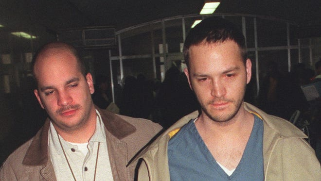 "Michael Alig, right, who pled guilty in the death of  a fellow ""club kid,"" will be released from prison on May 5."