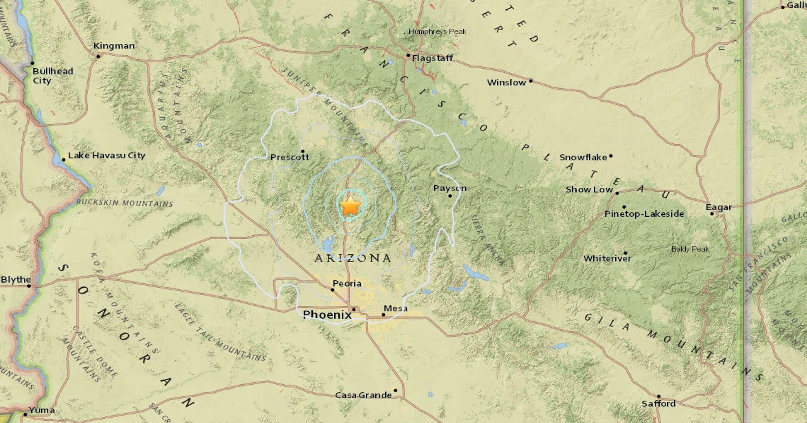 Map Of Arizona Fault Lines.4 1 Magnitude Arizona Earthquake Shakes Metro Phoenix