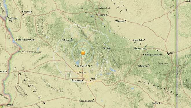 A 4.1-magnitude earthquake struck near Black Canyon City, Arizona, on Sunday, Nov. 1, 2015.