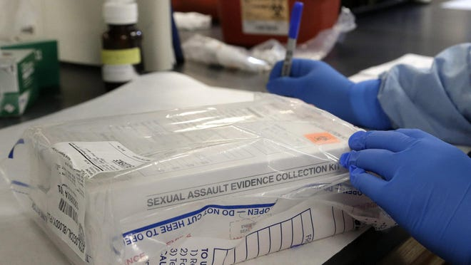 A sexual assault evidence kit is logged in the biology lab at the Houston Forensic Science Center in Texas.