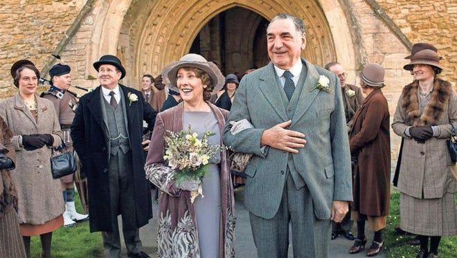 "Phyllis Logan as Mrs. Hughes and Jim Carter as Mr. Carson are seen in a scene from the final season of ""Downton Abbey."""