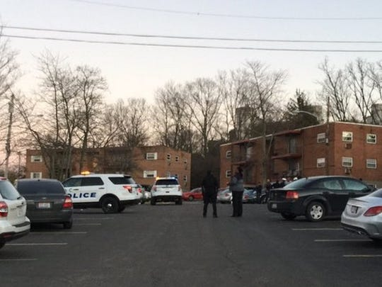 Police investigate a shooting in Mount Airy Monday. A 17-year-old was hospitalized.