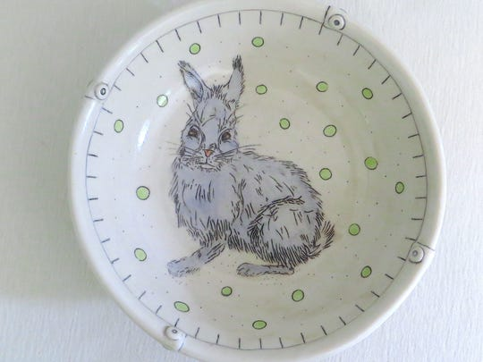 Ceramics, such as this painted rabbit bowl by  Kathleen Heidemann, will be featured in the pop up shop.
