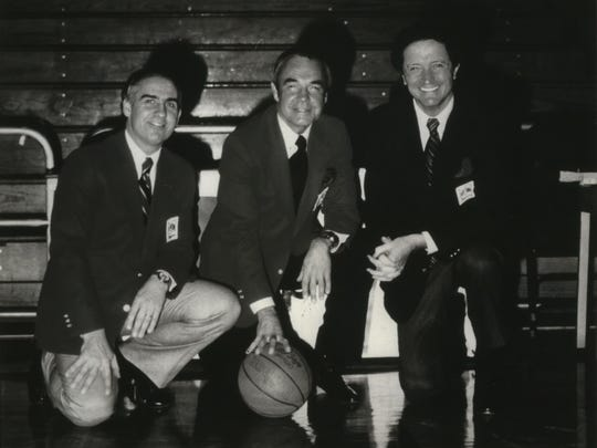 NBC Sports' popular basketball broadcasting trio of Billy Packer (left), Dick Enberg and Al McGuire worked just four years together.