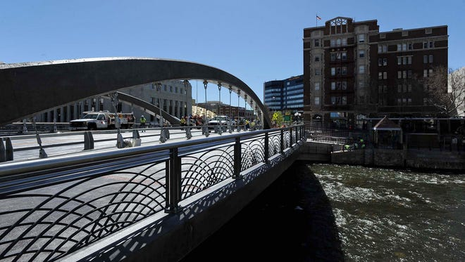 Media got a sneak preview of the Virginia Street Bridge on Wednesday morning April 6, 2016. The ribbon cutting is set for April 12, 2016,
