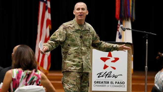 "Maj. Gen. Robert ""Pat"" White addresses more than 650 soldiers and civic and business leaders at the annual State of the Military luncheon Thursday at the Centennial Club at Fort Bliss. It was organized by the Greater El Paso Chamber of Commerce."