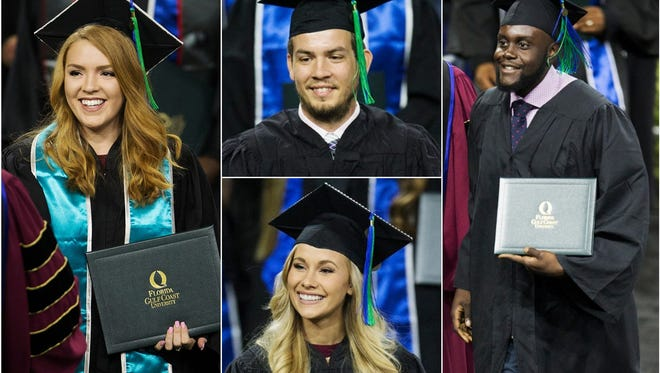 More than 860 students participated in Florida Gulf Coast University's commencement ceremonies on Saturday at Alico Arena in Fort Myers. Roy McTarnaghan, FGCU's first president, was the commencement speaker.