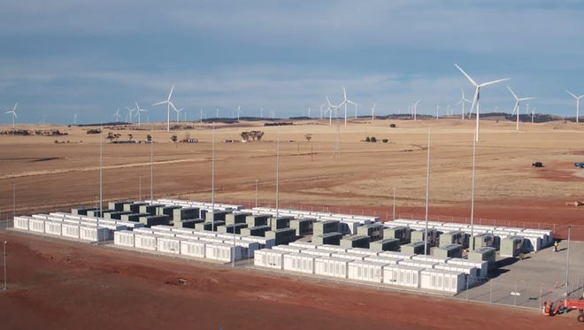 This screen grab from an undated handout video from a drone received by AFP on Dec. 1, 2017 from French energy firm Neoen shows the Tesla 100 MW/129 MWh Powerpack system by billionaire entrepreneur Elon Musk in the rural town of Jamestown, 200km north of Adelaide.