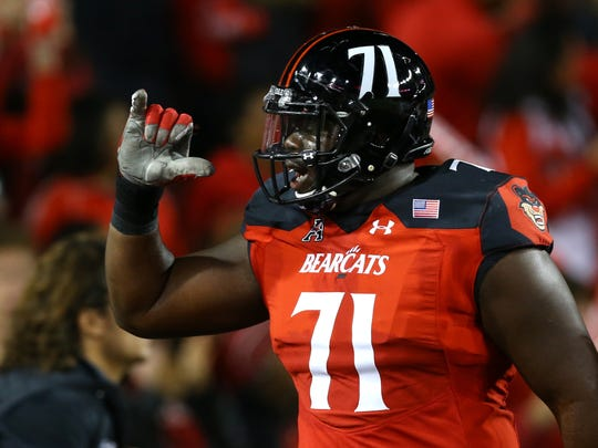 Cincinnati Bearcats offensive lineman Korey Cunningham started 24 consecutive games at left tackle to end his college career. The Cardinals drafted him in the seventh round in the 2018 NFL draft.