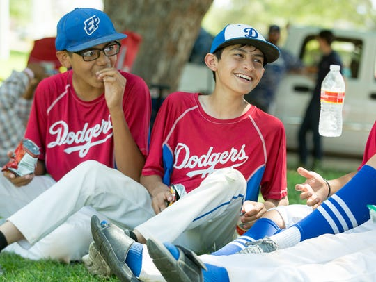 Members of the 13U El Paso Dodgers baseball team seated