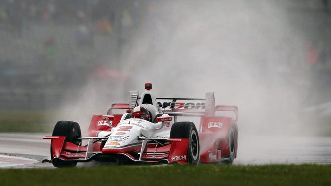 IndyCar driver Juan Pablo Montoya spun off the wet NOLA Motorsports Park track during the first group of qualifying for the Grand Prix of Louisiana on Saturday and would have started 15th had the weather not worsened.