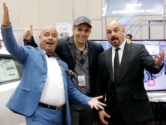 """Alberto Orozco and Horacio Arras """"Los Pelones,"""" de Casa Nissan were on hand along with Mike Zuloaga (c) at the 2015 El Paso Business Conference and Expo held at the El Paso Convention Center Thursday morning."""
