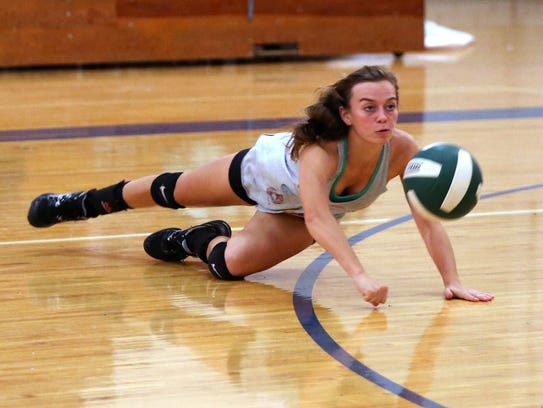 Rockport-Fulton volleyball player Olivia Young participates