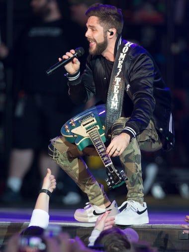 Thomas Rhett performs Saturday at Miller Park in Milwaukee.