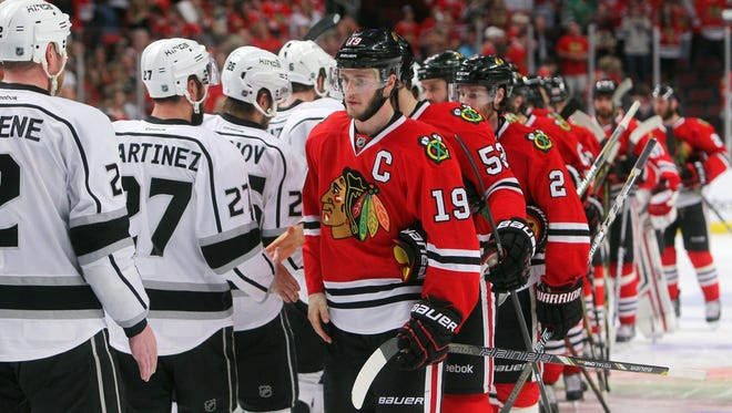 Chicago Blackhawks center Jonathan Toews goes through the handshake line after last season's loss to the Los Angeles Kings.