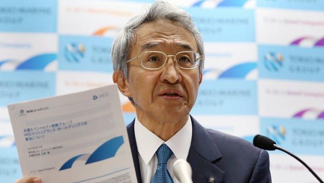 President of Japan's insurer Tokio Marine Holdings, Tsuyoshi Nagano, speaks to the media as he announces the company will buy U.S.-based HCC Insurance Holdings for $7.5 billion at the company's headquarters in Tokyo on June 10, 2015.