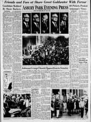 Page 23 of the Asbury Park Evening Press on Oct. 8, 1964, which was devoted to coverage of U.S. Sen. Barry Goldwater's visit to Asbury Park the day before for a campaign rally. Goldwater was the controversial Republican nominee for president that year.