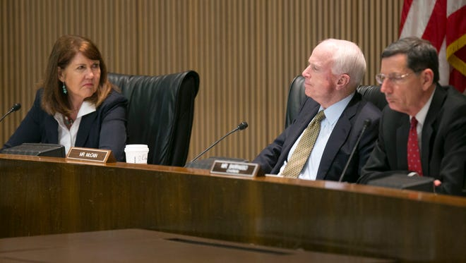 U.S. Rep. Ann Kirkpatrick, D-Ariz., and U.S. Sen. John McCain, R-Ariz., ask questions during a congressional hearing looking into the 2015 Gold King Mine Spill in Colorado. Kirkpatrick and McCain could face each other in this year's U.S. Senate general election.
