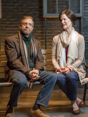 """Barry Mulholland, left, and Annie Fitzpatrick star in Ensemble Theatre Cincinnati's production of """"Bloomsday."""" Written by Steven Dietz and directed by Michael Evan Haney, the show runs April 5-23 (preview on April 4) at ETC's theater at 1120 Vine St., Over-the-Rhine. The cast includes Becca Howell and Patrick Phillips."""