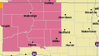 Thunderstorm watch until areas in pink until 11 p.m.