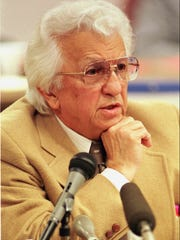 FILE--Elvis Presley's physician Dr. George Nichopoulos is shown in this 1992 file photo taken in Nashville, Tenn.  Nichopoulos, of Memphis, was physician to Elvis Presley for 11 years before the singer's death in 1977.  (AP Photo/Mark Humphrey)