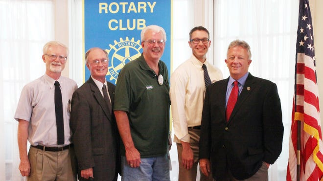 From left are Rhinebeck Rotary officers Michael Frazier, Bill Dowden, Gary McDonald, Phil Meltzer and Louis Turpin.