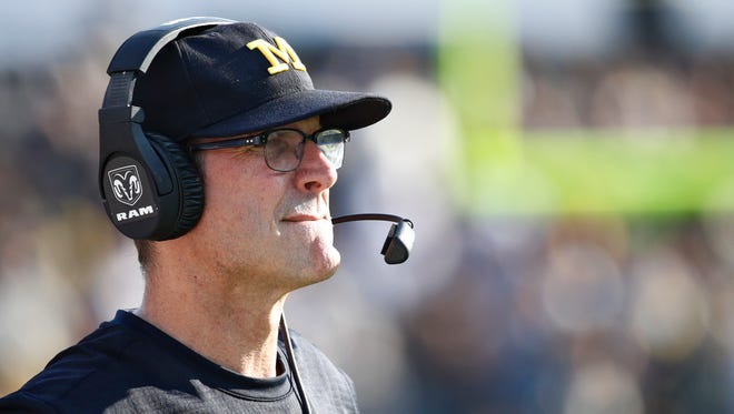Michigan coach Jim Harbaugh watches the second quarter of the Wolverines' 28-10 win over Purdue at Ross-Ade Stadium on Sept. 23, 2017 in West Lafayette, Ind.