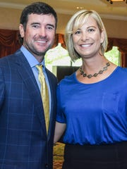 Bubba Watson and his wife, Angie, were at the Grand Geneva Resort on Sunday to support Jockey Being Family, a foundation that supports post-adoptive services.