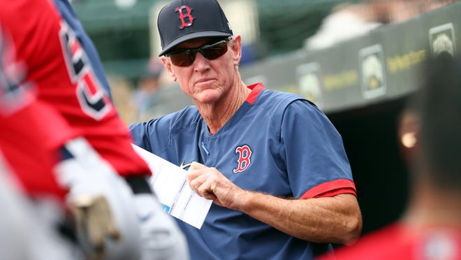 Red Sox manager Ron Roenicke looks on during a preseason game against the Pittsburgh Pirates in Florida in February. The regular season is expected to begin on July 23 or 24 after Spring Training 2.0.