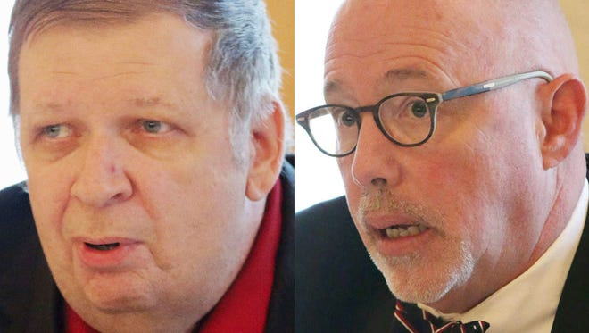 Scott Lewandoske, left, and John Belanger are among four candidates vying in a Feb. 21 primary for a seat as Sheboygan's mayor.