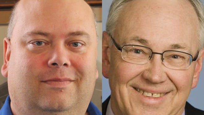 Bill Thiel, left, and incumbent Mike Vandersteen are among four candidates vying in a primary election Tuesday for a seat as Sheboygan's mayor.