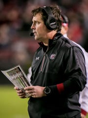 South Carolina  coach Will Muschamp directs his team against the Western Carolina Catamounts in the second half at Williams-Brice Stadium.