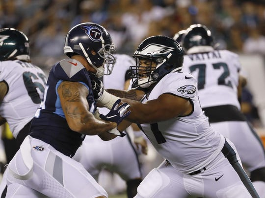 Eagles tackle Andre Dillard (77) started four games and logged 346 offensive plays as a rookie.