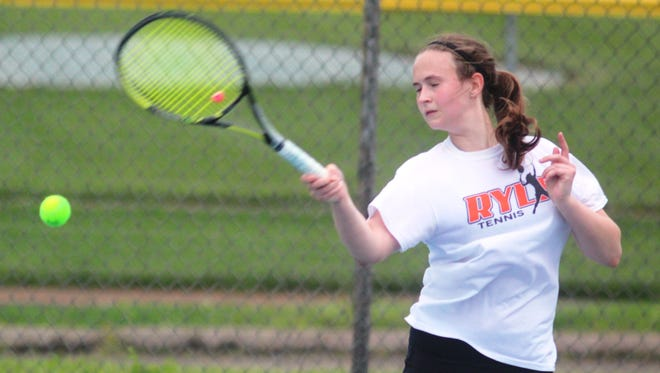 Ryle's Elizabeth Hamilton returns a shot during the 9th Region girls tennis semifinals May 11, 2017 at Lloyd Memorial High School in Erlanger, KY.