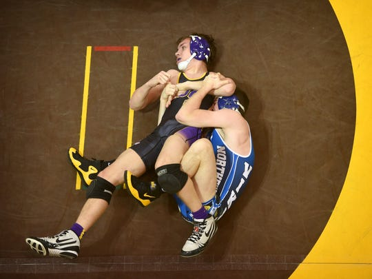 Trevor Leonard's pin of Cameron Palmer of Boiling Springs at the 1:48 mark in the 132-pound bout proved to be the key victory for Northern Lebanon in its district title win over Boiling Springs on Saturday.