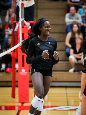 Middle blocker Oluoma Okaro, a junior transfer from University of San Francisco, has been one of the most consistent players for ASU volleyball.