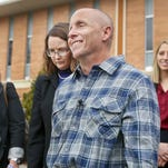 Floyd Bledsoe smiles during a press conference on Tuesday Dec. 8, 2015, outside the Oskaloosa, Kan., courthouse after he was released from prison by Judge Gary Nafziger after being found innocent in the murder of Zetta Arfmann in 1999. New evidence points to Arfmann being killed by Bledsoe's brother Tom instead.