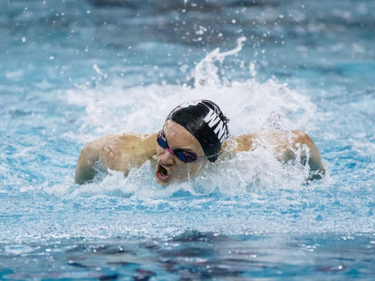 Waukesha North/KM/Pewaukee swimmer Jeff Wiedoff competes in the 100 yard butterfly event at the 2018 WIAA Division 1 Boys Swimming and Diving Sectional at Waukesha South on Saturday, Feb. 10.