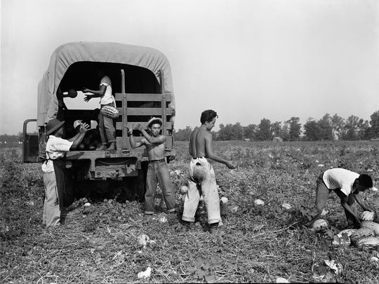 Workers at the Rohwer Relocation Center in Arkansas on Aug. 26, 1943, load watermelons from the camp's 750-acre farm onto a truck that will take them to a mess hall. This photo is featured in an exhibit on Japanese internment at the FDR Presidential Library and Museum in Hyde Park.
