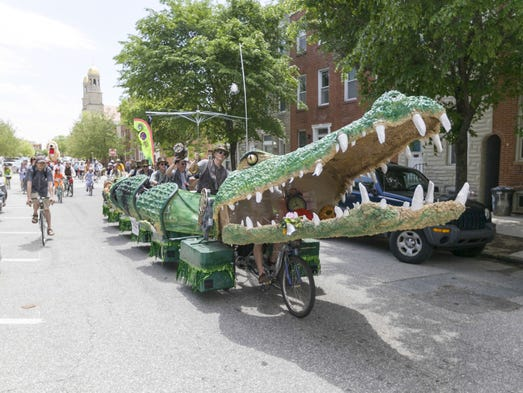 Tic Tock The Croc participates in a past Kinetic Sculpture