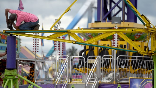 """The bearings on the ride, """"Sizzler,"""" at the York Fair were all being replaced on Thursday afternoon following its shutdown Wednesday night after a person received medical attention at the scene."""